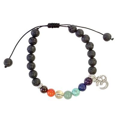 Chakra lava bracelet with OM charm